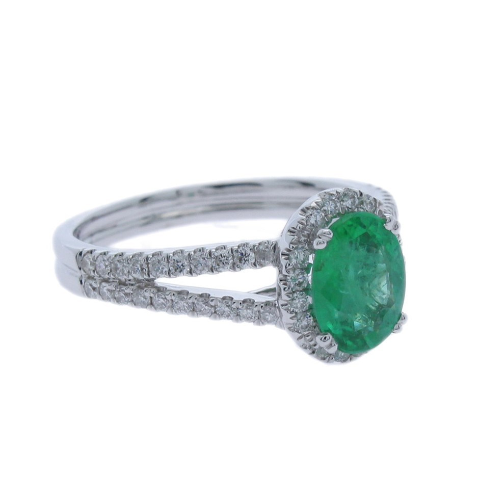 9ct White Gold, 1.54ct Emerald and Diamond Ring
