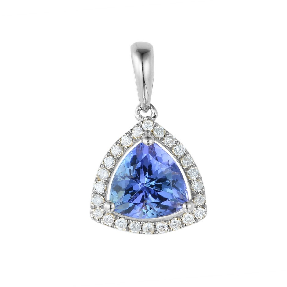 9ct White Gold, 1.31ct Tanzanite and Diamond Pendant
