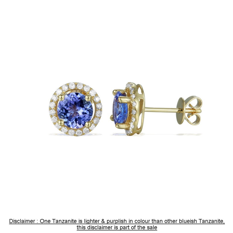 9ct Yellow Gold, 1.94ct Tanzanite and Diamond Earring