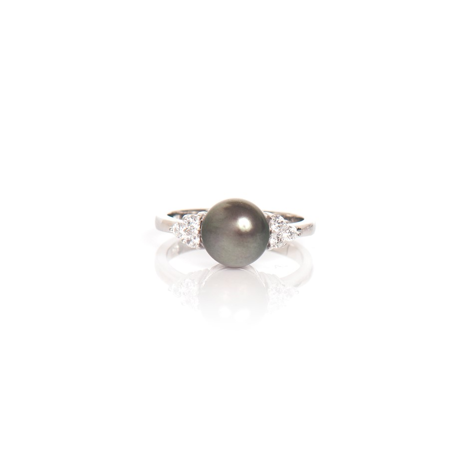 Black Pearl And Cubic Zirconia Sterling Silver Ring