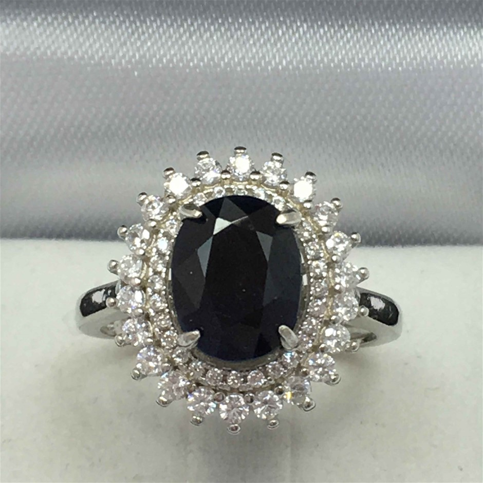 3.33ct Blue Sapphire and Cubic Zirconia Ring