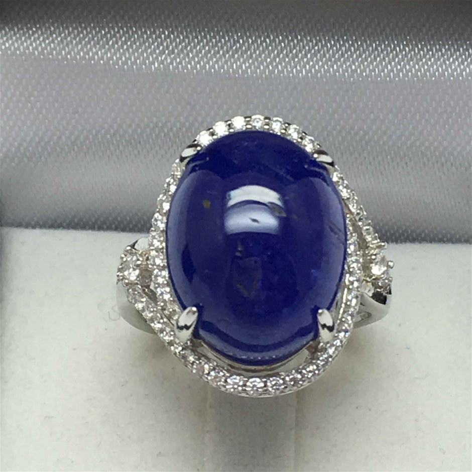 16.10ct Tanzanite and Cubic Zirconia Ring