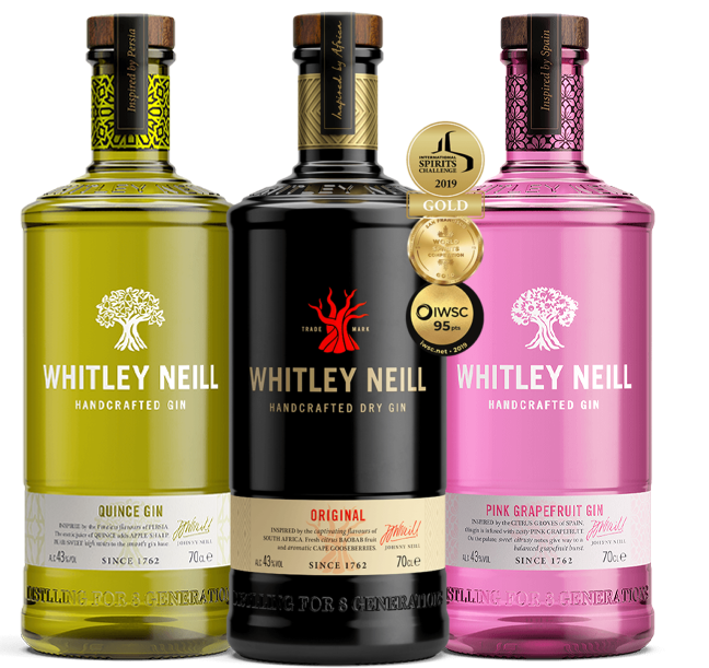 Whitley Neill Original, Quince, and Pink Grapefruit Gin (3x 700mL). UK.