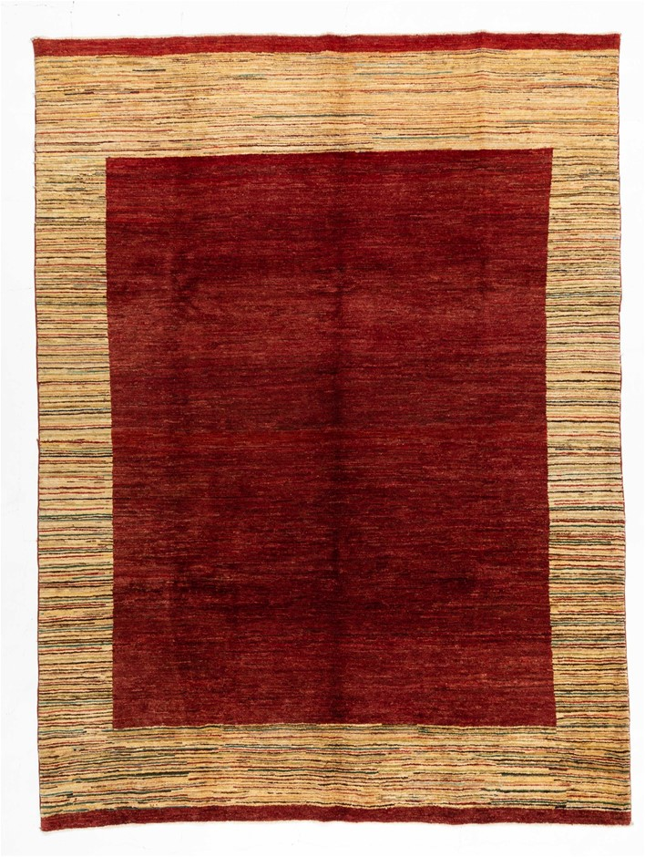Afghan Gabbeh Stripy Hand Knotted Pure Wool Pile Size (cm): 210 x 285
