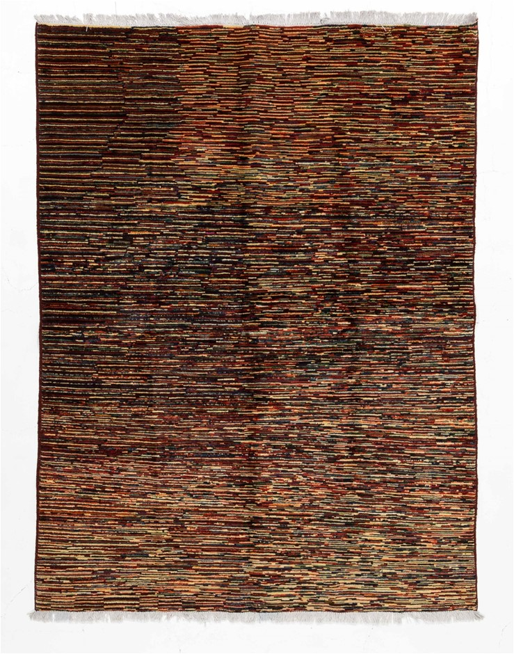 Afghan Gabbeh Stripy Hand Knotted Pure Wool Pile Size (cm): 149 x 196