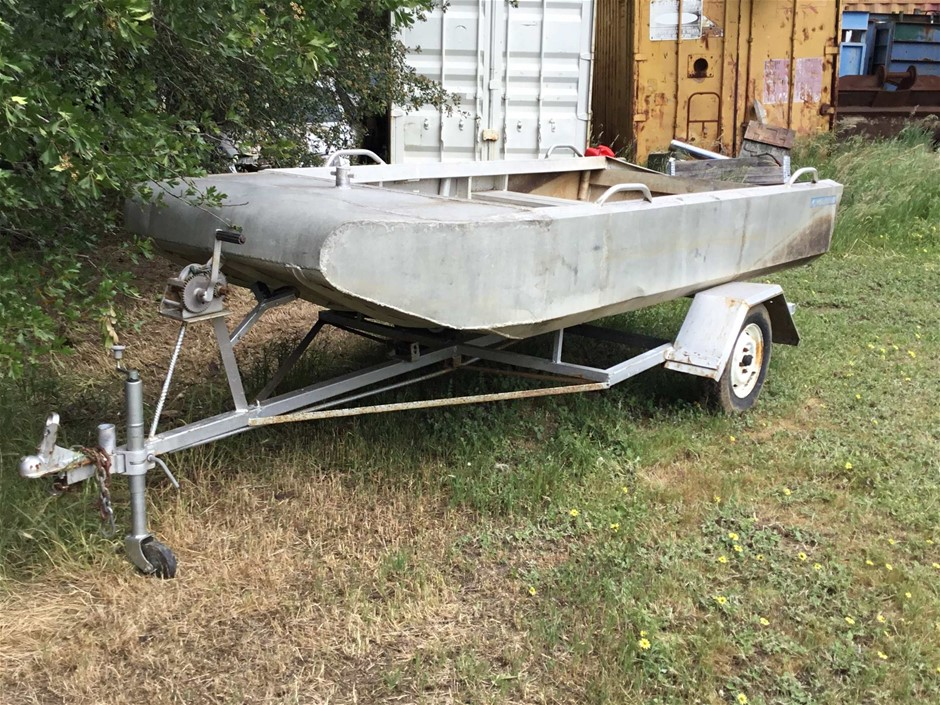 Ladderweld Aluminium Flat Bottom Punt Boat on Trailer