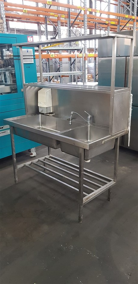 Stainless Steel Freestanding Dual Sink Wash Bench