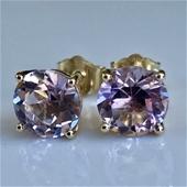 "Solid 9K Gold ""Rose de France"" Pink Amethyst Stud Earrings"