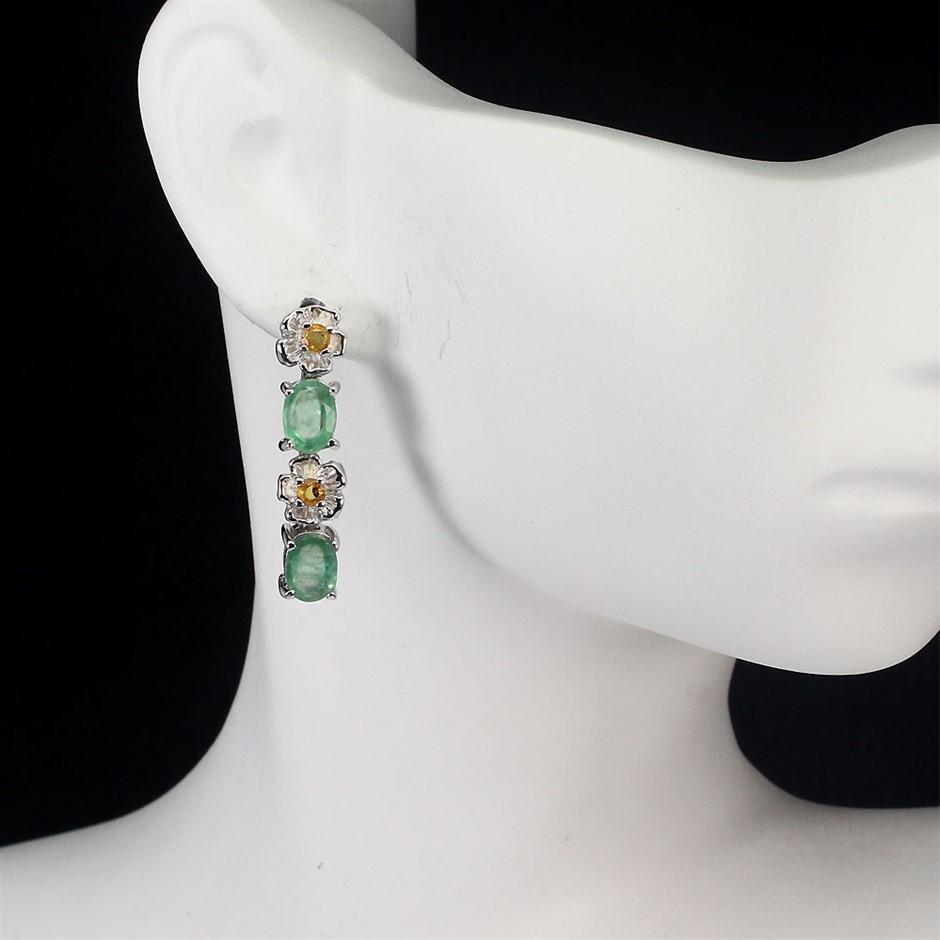 Amazing Genuine emerald & sapphire Drop Earrings.