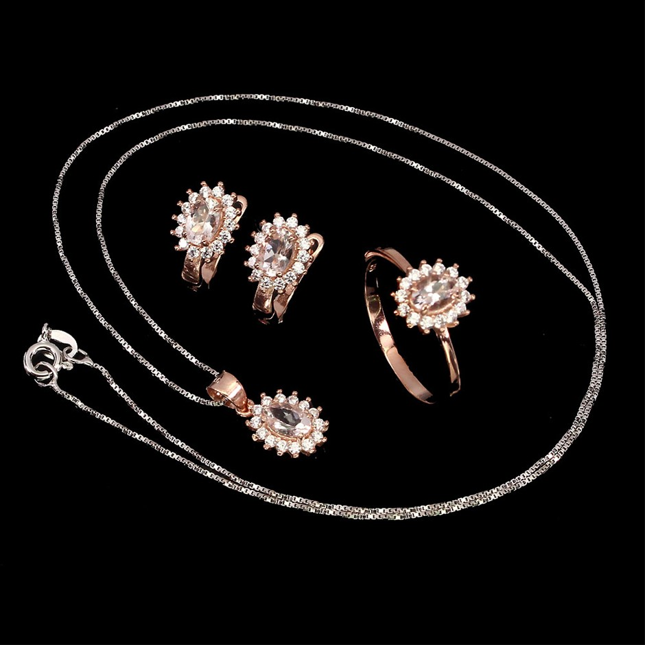 Gorgeous Genuine Morganite Earring Ring & Necklace Set