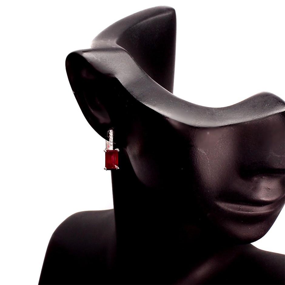 Genuine Blood Red Ruby Huggie Earrings