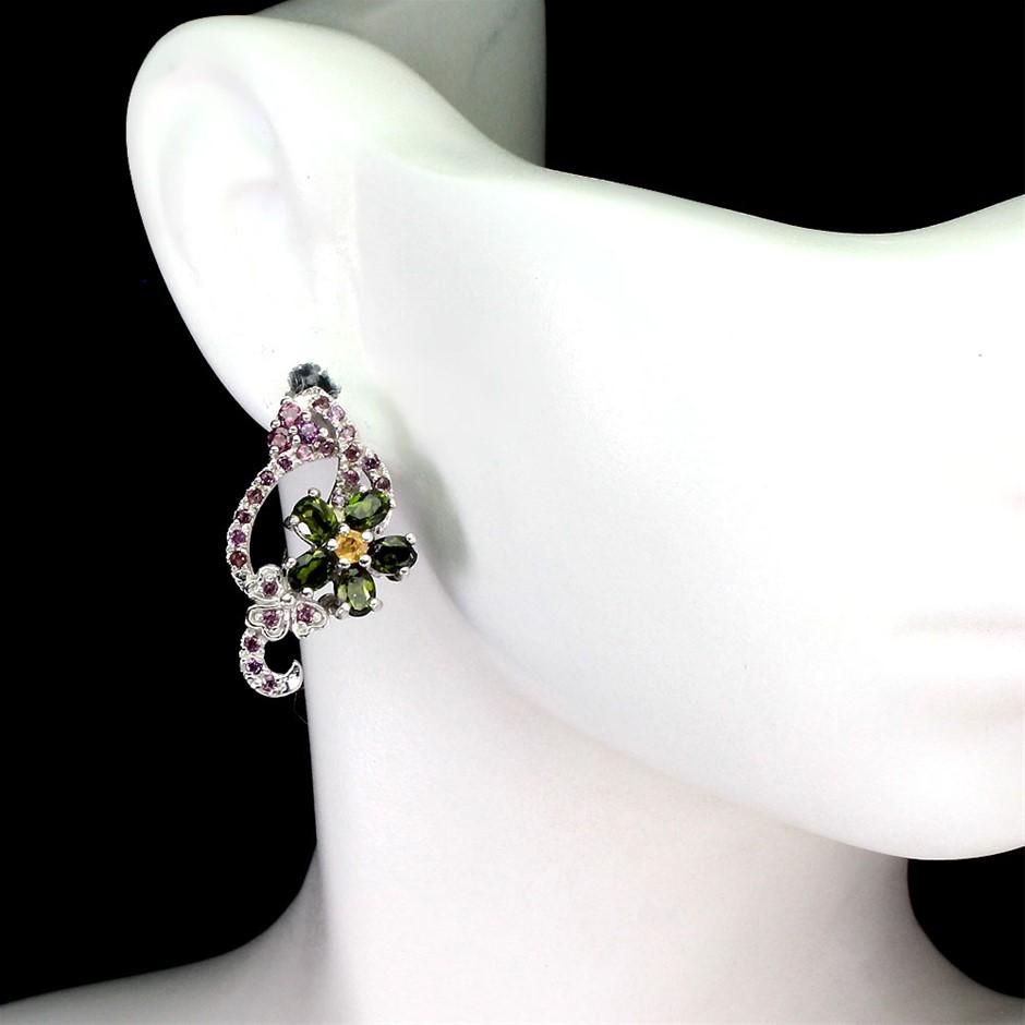 Genuine sapphire & Garnet Earrings