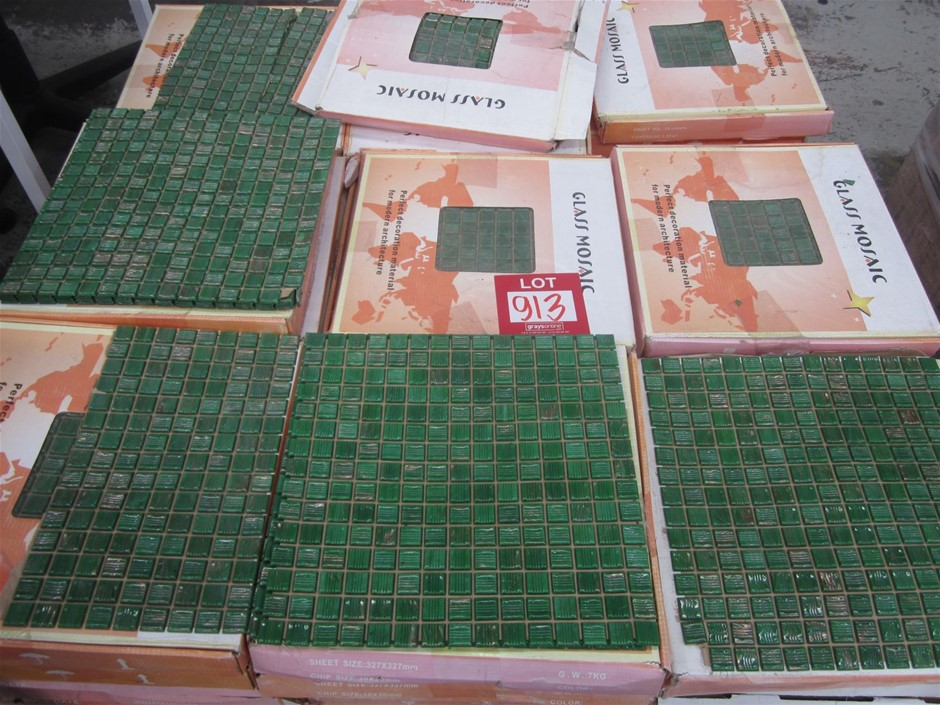 Box of Green Glass Mosaic Tiles.