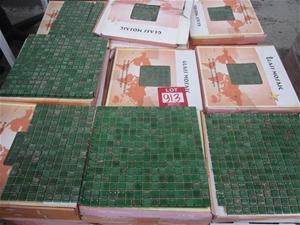 Box of Green Glass Mosaic Tiles.