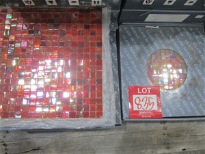Box of Red Glass Mosaic Tiles. 295mm x 2