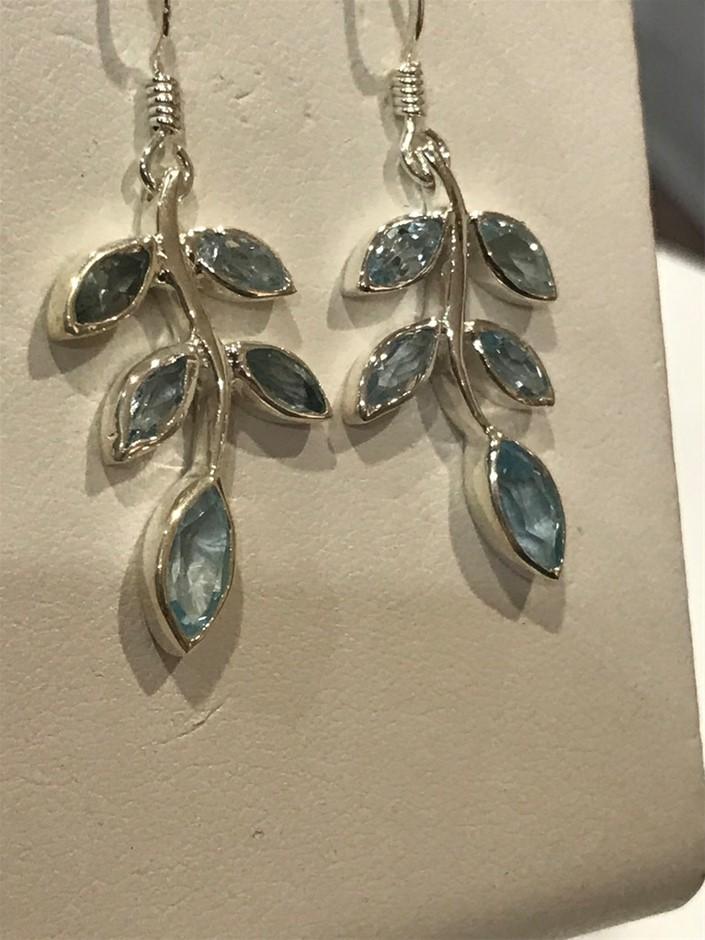 Stunning Genuine 3.52ct Blue Topaz Drop Earrings