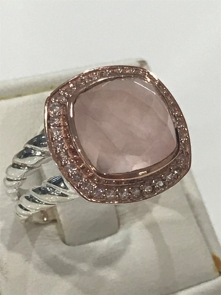 Lovely Rose Quartz Halo Ring 18K Rose/White Gold Vermeil Size P 1/2 (8)