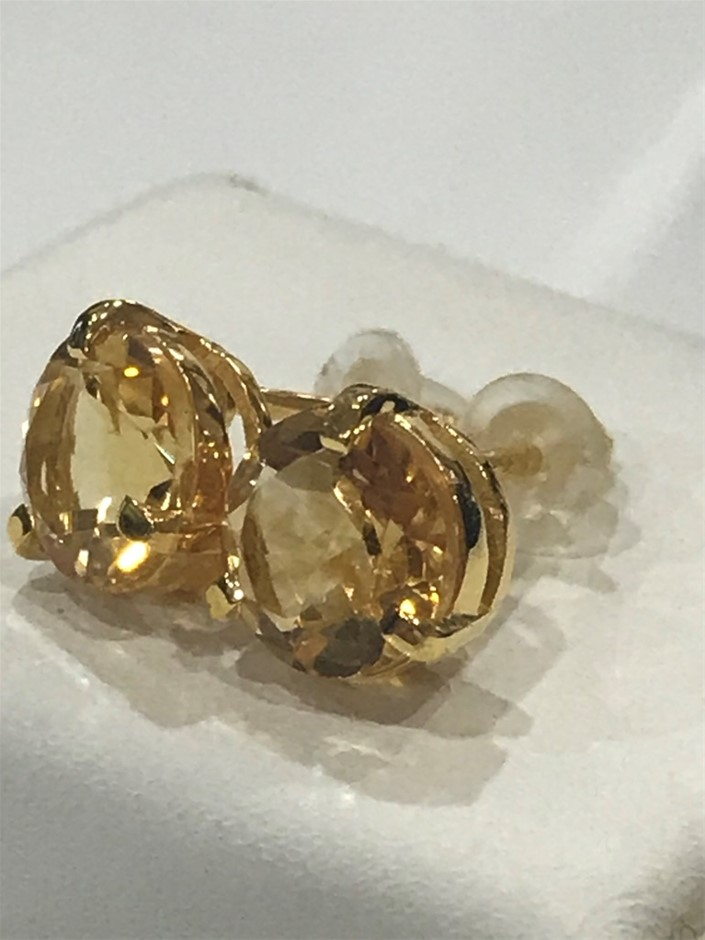Magnificent Genuine Golden Citrine 3.20ct & 18K Gold Vermeil Earrings