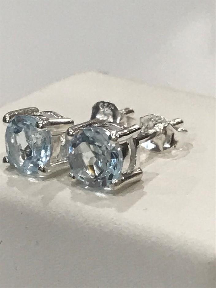 Stunning Genuine 1.20ct Blue Topaz Stud Earrings