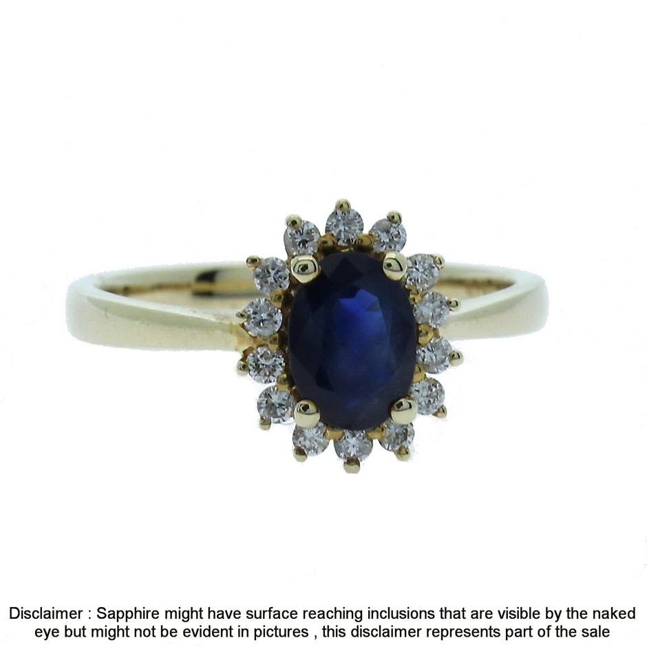 9ct Yellow Gold, 1.08ct Blue Sapphire and Diamond Ring