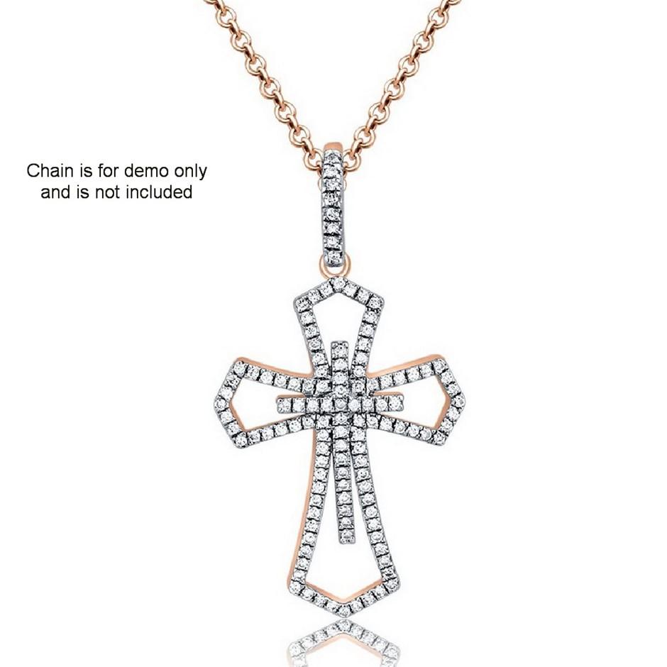 9ct Rose Gold, 0.18ct Diamond Pendant