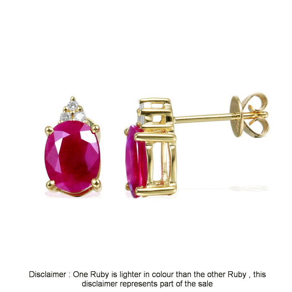 9ct Yellow Gold, 3.05ct Ruby and Diamond Earring