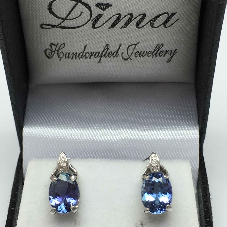 18ct White Gold, 3.44ct Tanzanite and Diamond Earring