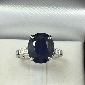 18ct White Gold, 5.46ct Blue Sapphire an