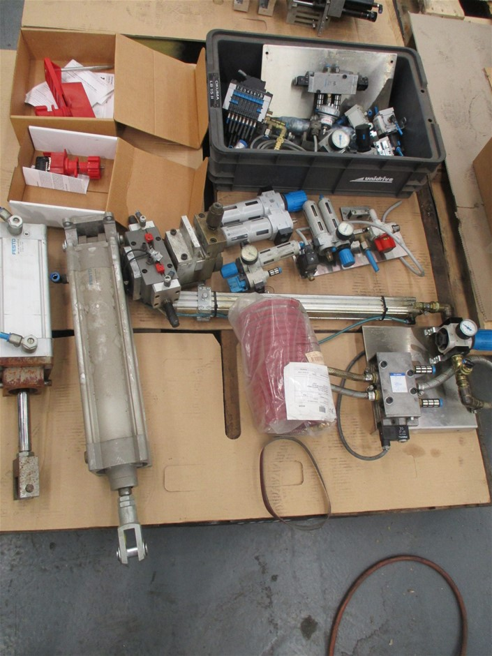 Pallet of Assorted Pneumatic Parts Comprising
