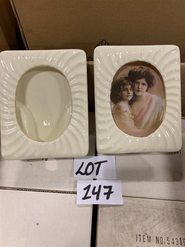 Qty 19 x Cream Porcelain Frames, ribbed.