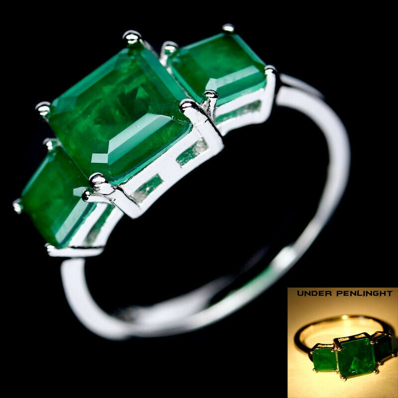 Square Cut Forest Green Doublet Emerald Ring. Size 'P'