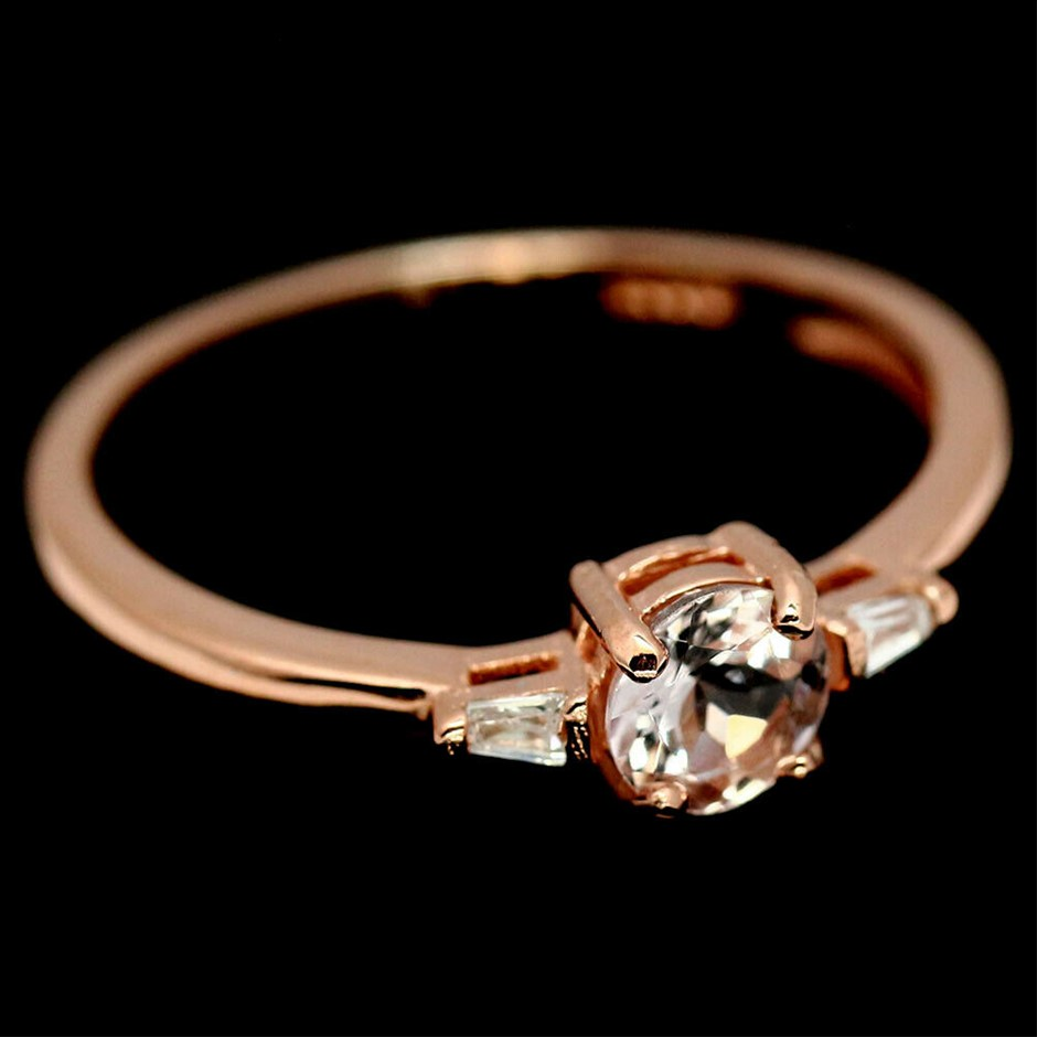 Lovely Morganite Rose Gold Ring (Size 'N')