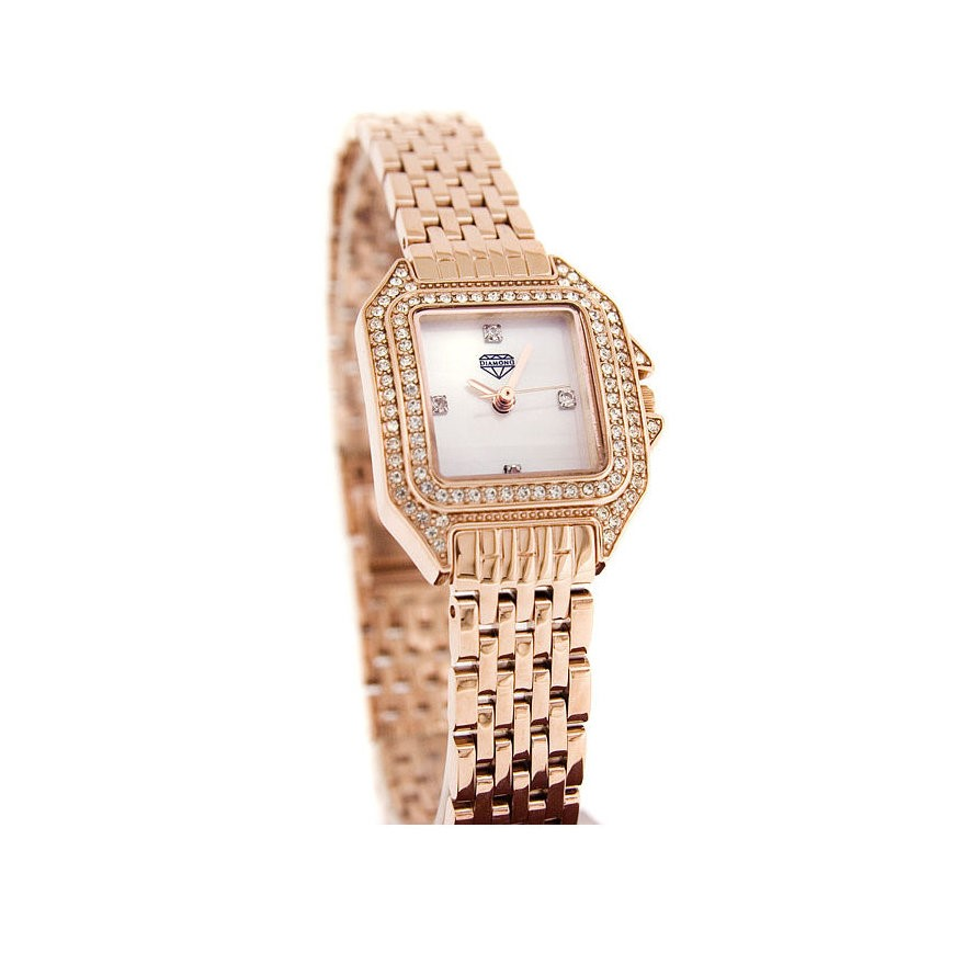 Diamond Ladies Rose Gold Plated Dress Watch Mother of Pearl