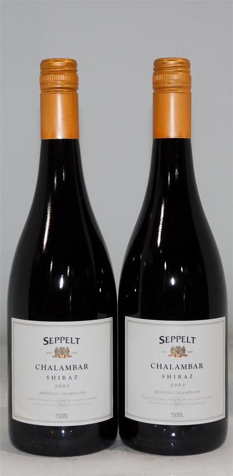 Seppelt `Chalambar` Shiraz 2003 (2 x 750mL), Grampians. 5 Star Prov. Cork.