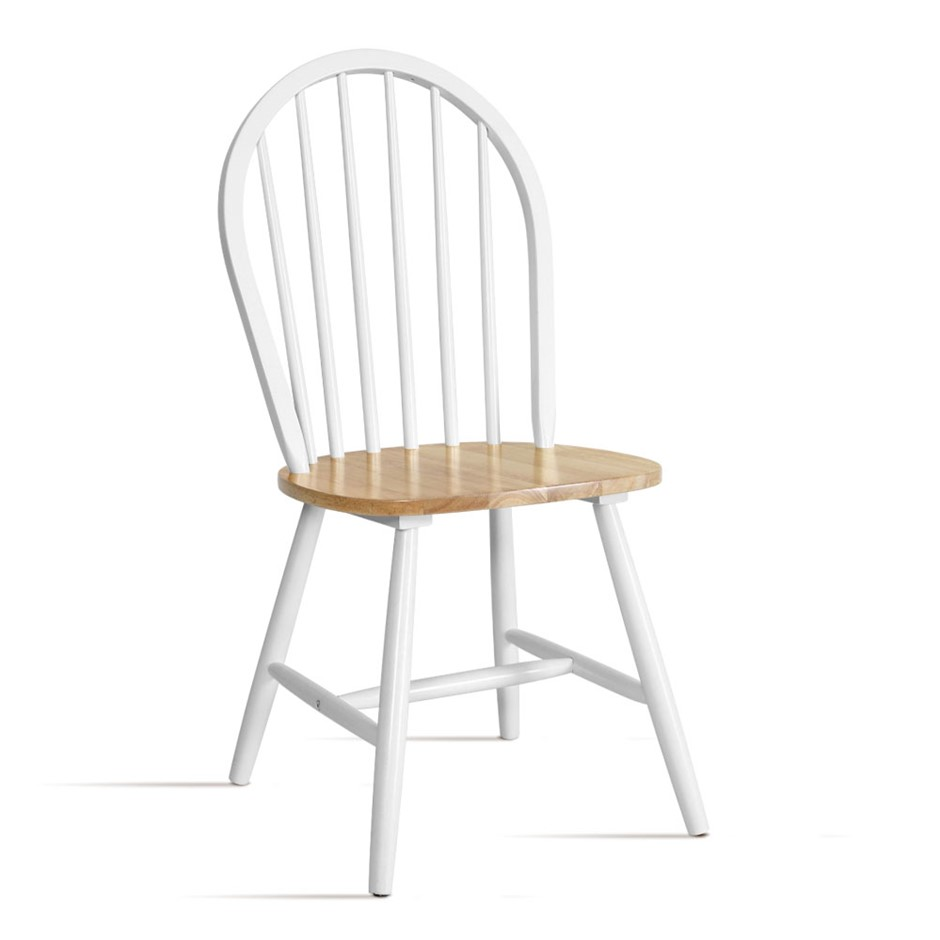 Artiss Dining Chairs Kitchen Chair Rubber Retro Cafe White Wooden Seat x2