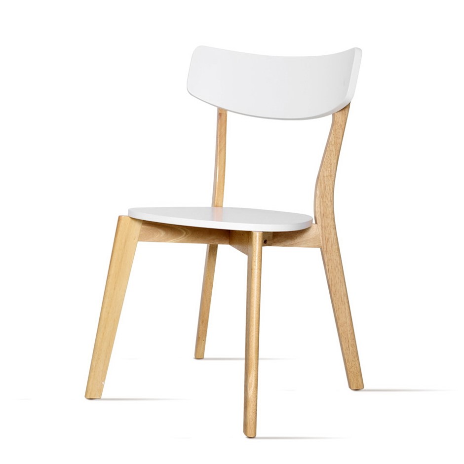Artiss Dining Chairs Kitchen Chair Rubber Cafe Retro White Wooden Seat x2
