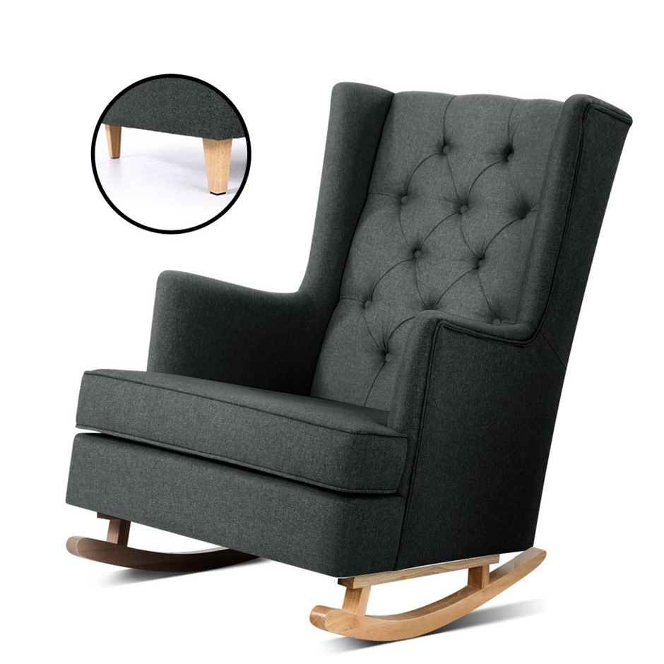 Artiss Rocking Armchair Feeding Chair Fabric Lounge Recliner Charcoal