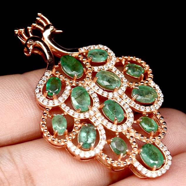 Spectacular Genuine Emerald Peacock Pendant.