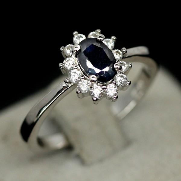 Genuine Midnight Blue Sapphire Ring