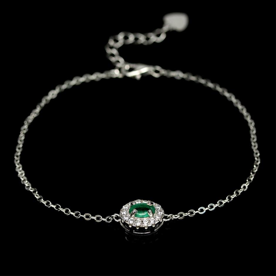 Beautiful Genuine Emerald Solitaire Bracelet