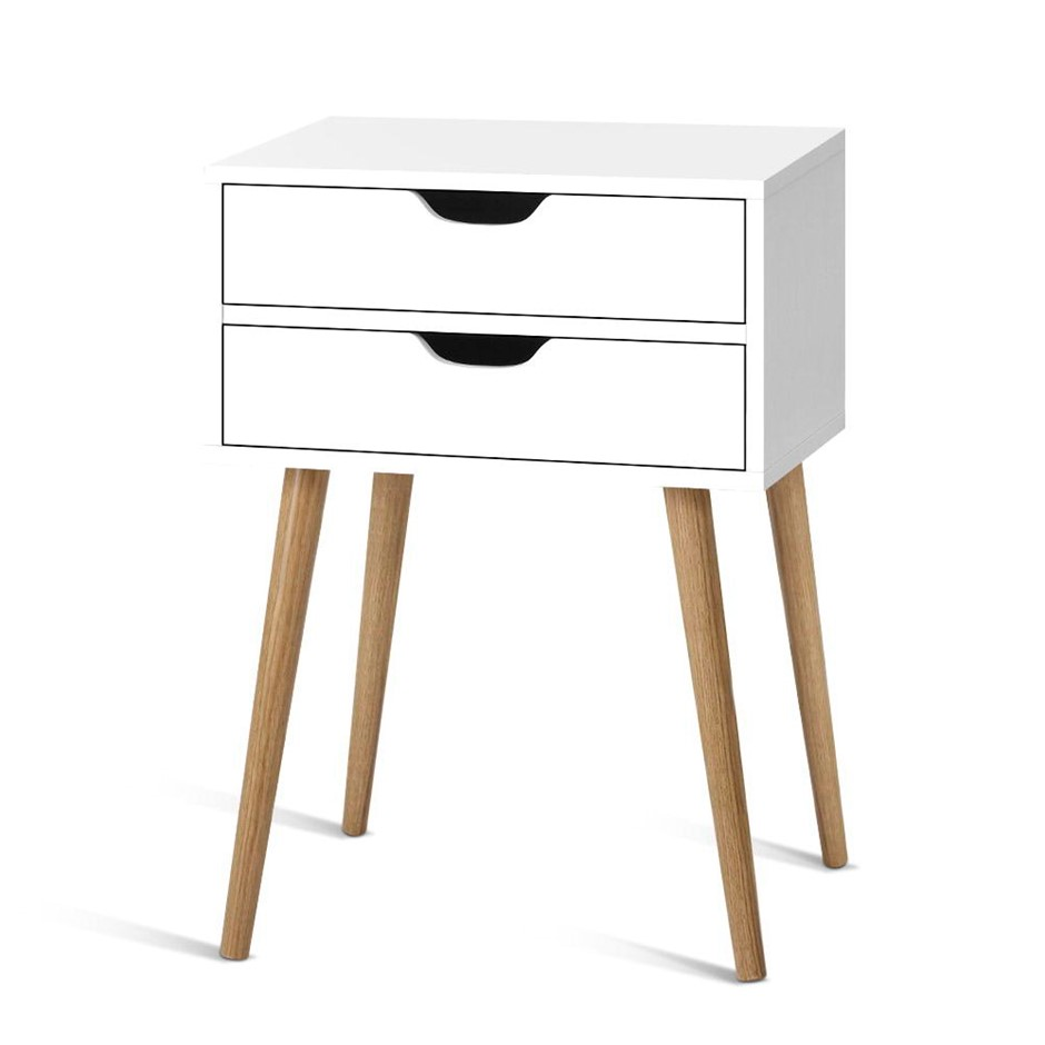 Artiss Bedside Tables Drawers Side Table Nightstand Storage Cabinet White
