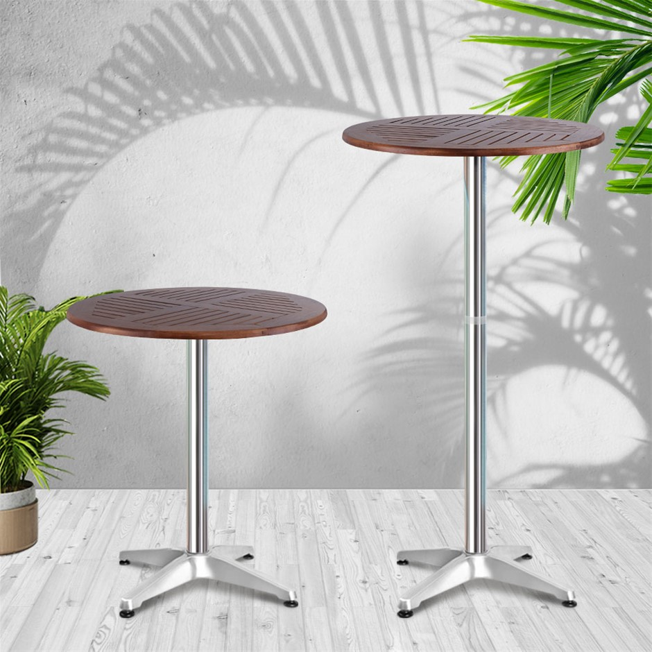 Gardeon Outdoor Bar Table Furniture Wooden Cafe Table Aluminium Adjustable