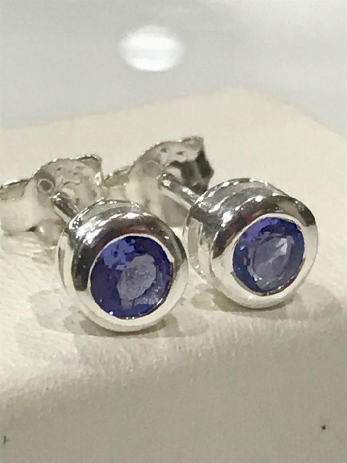 Glorious Tanzanite & 18K W/Gold Vermeil Stud Earrings