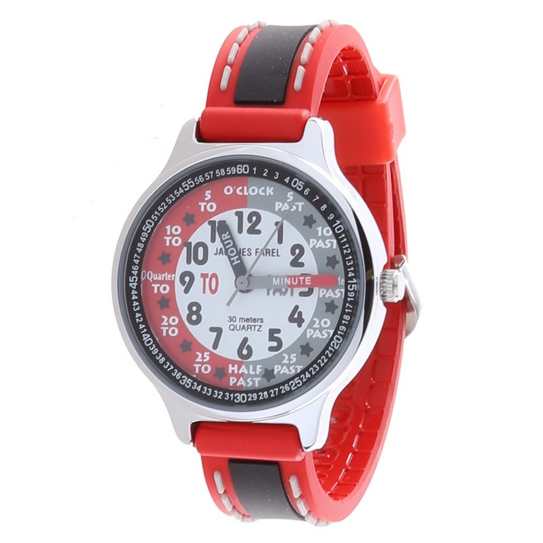 JACQUES FAREL Kid`s Stainless Steel Watch w/ PVC Band, Water Resistant to 3