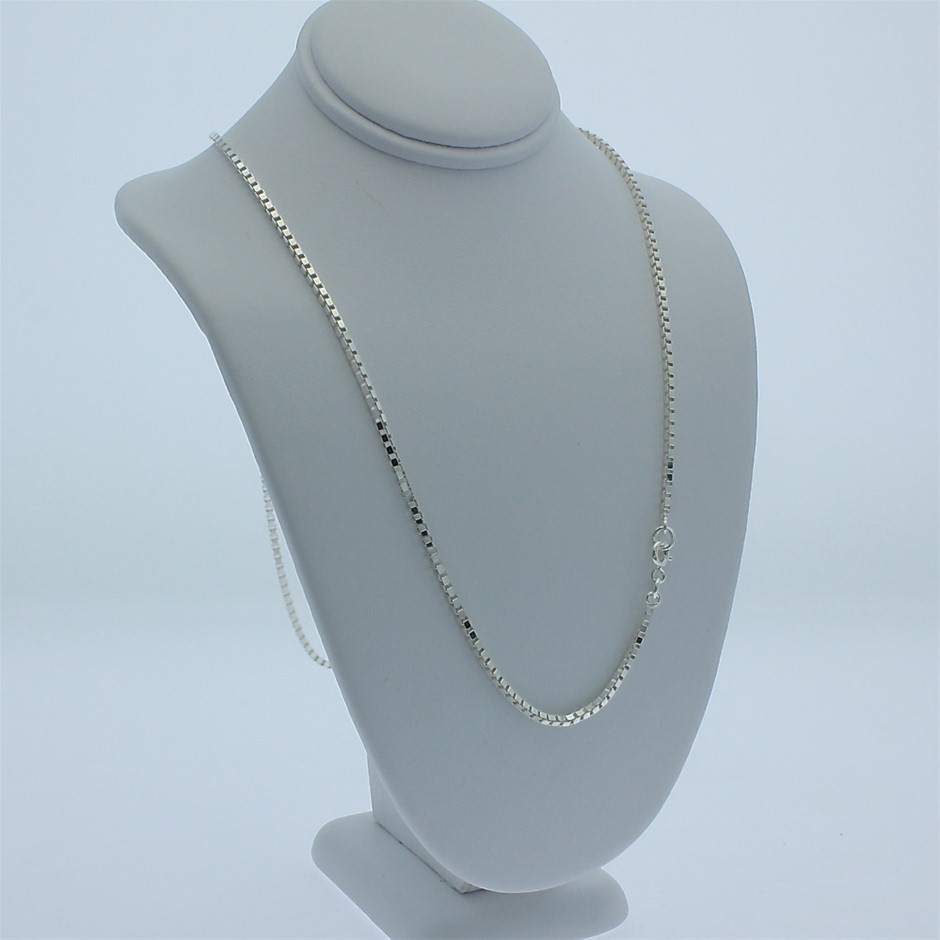 Genuine solid Sterling Silver heavy box chain necklace 60 cm