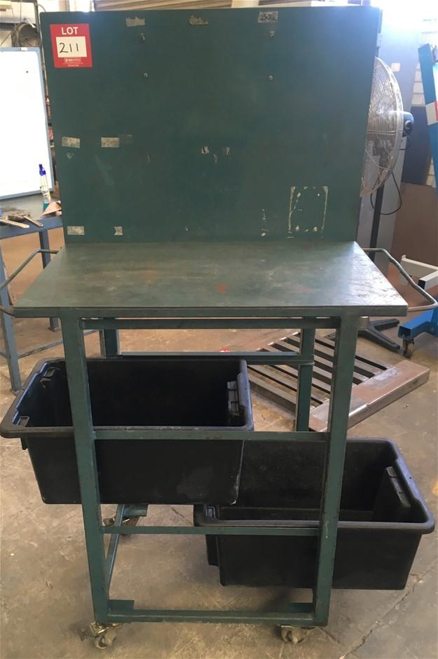 Steel Table on locking Nylon Wheels (1070H x 650W x 510D).