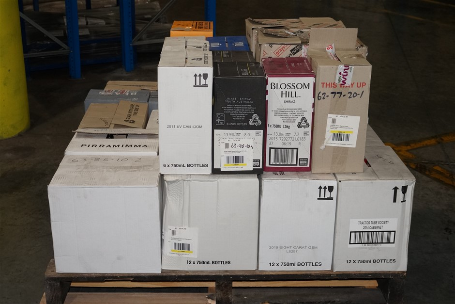 Pick Up Only A Mixed Pallet of Wine - Approx 250x 750mL + 22x 375mL Bottles