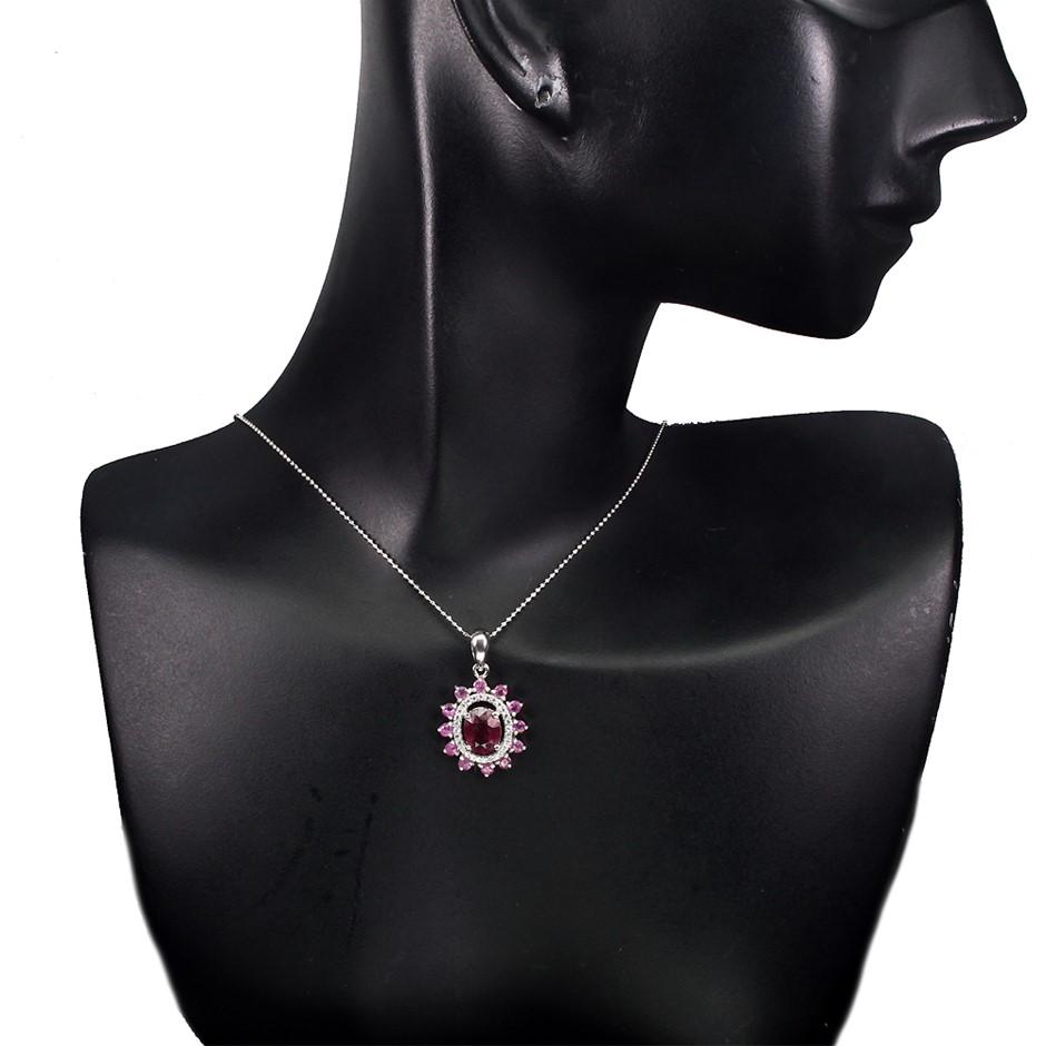 Striking Genuine Ruby Pendant & Chain.