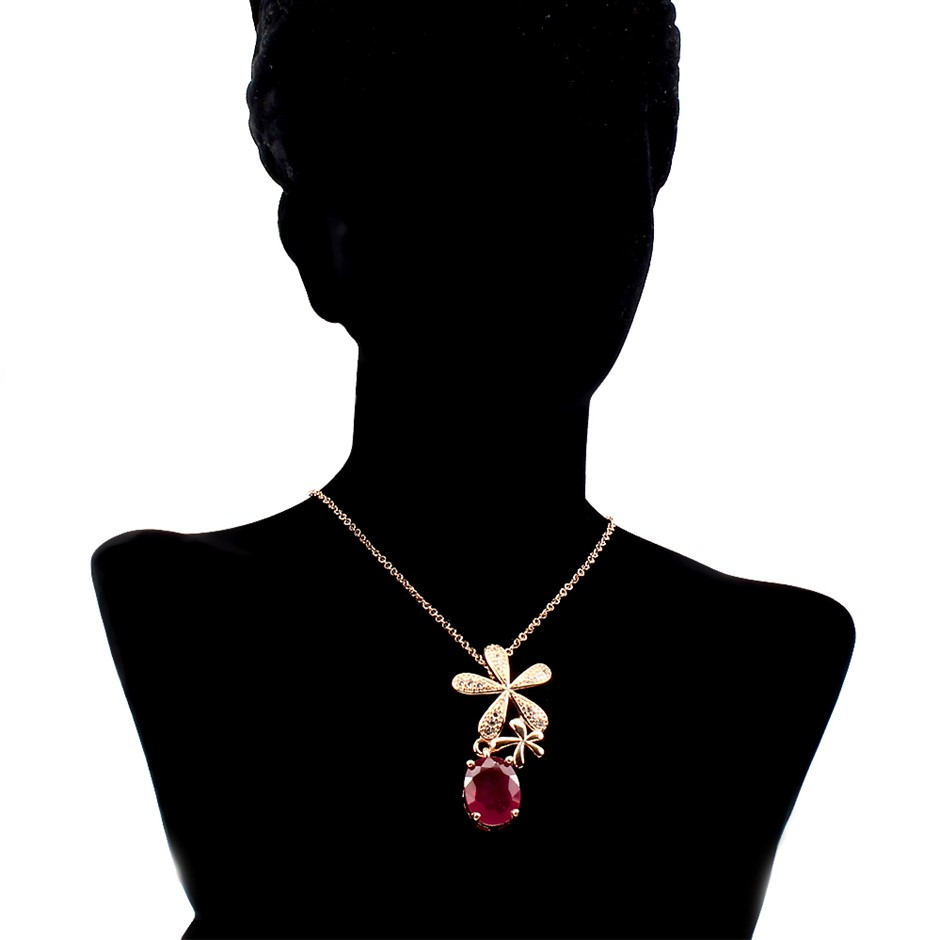 Spectacular Genuine Ruby Pendant & Chain