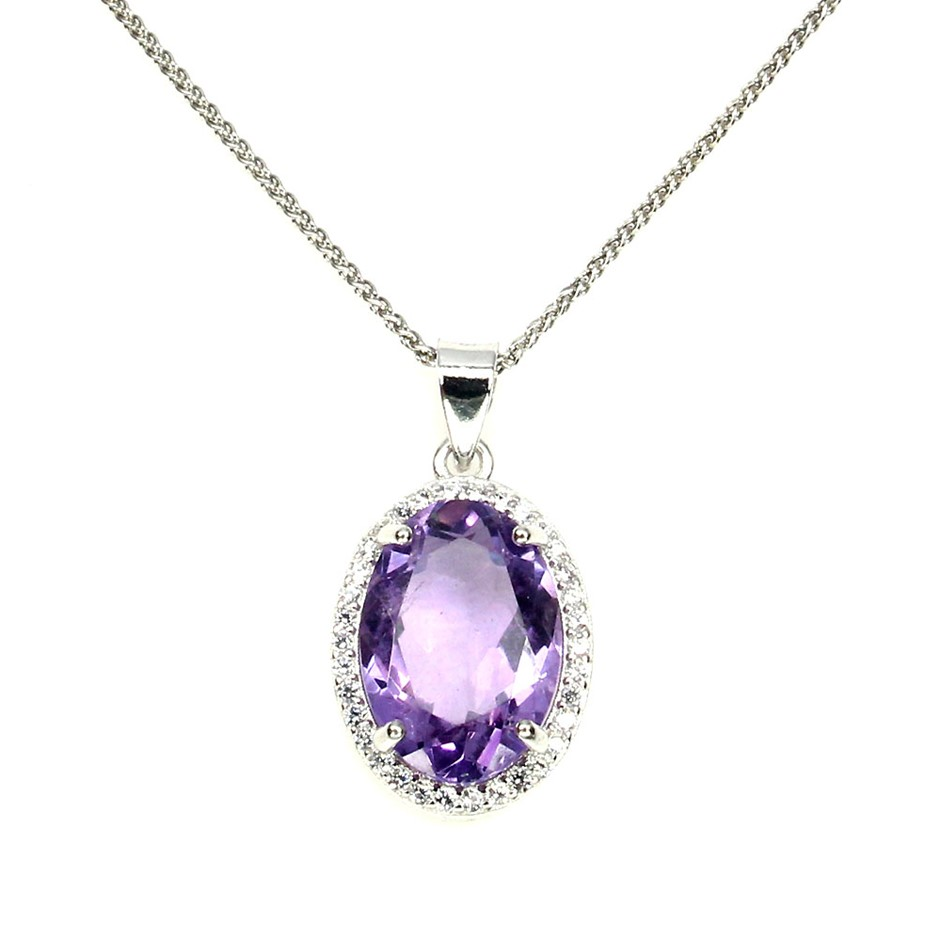 Spectacular Genuine Amethyst Pendant & Chain